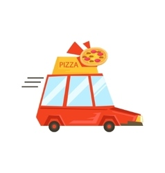 Car with pizza sign delivering foodpart of vector