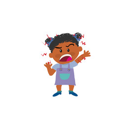Cartoon character of a angry black girl vector