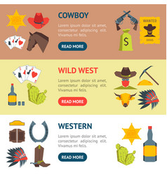 cartoon cowboy banner horizontal set vector image vector image