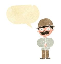 cartoon man in safari hat with speech bubble vector image