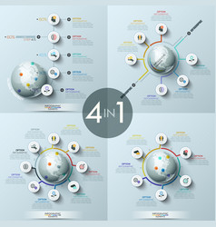 Collection of 4 modern infographic design layouts vector