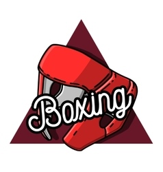 Color vintage boxing emblem vector