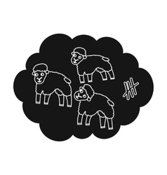 Count sheep icon in black style isolated on white vector