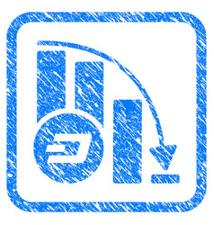 Dashcoin falling acceleration chart framed stamp vector