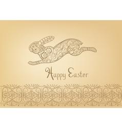 Easter folk ornament rabbit hand-drawn typography vector