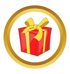 Gift box with ribbon bow icon vector