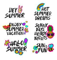 Hand drawn cartoon summer lettering set vector