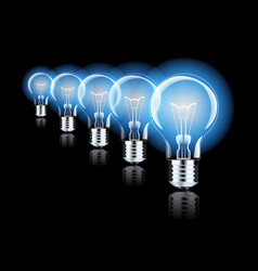 hanging light bulbs with glowing one isolated on vector image vector image
