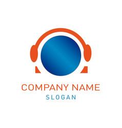 headphones logo vector image