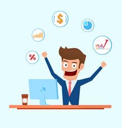 Investor character businessman working on desktop vector