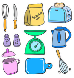 kitchen set accessories doodle style vector image vector image