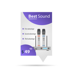 Label template - wireless microphones vector