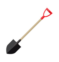 Metal shovel with plastic handle vector