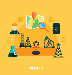 Oil accumulation flat composition vector