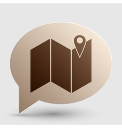 Pin on the map brown gradient icon on bubble with vector