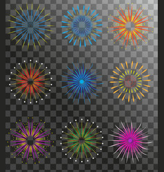 realistic fireworks set isolated on a transparent vector image vector image