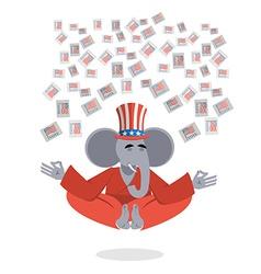 Republican Elephant hat Uncle Sam meditating votes vector image
