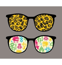 Retro sunglasses with robot pattern reflection vector image vector image