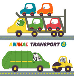 Set of isolated transports with animals part 4 vector