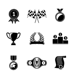 Set of winners icons - goblet medal wreath race vector