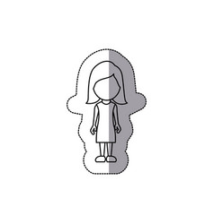 silhouette woman sticker icon vector image