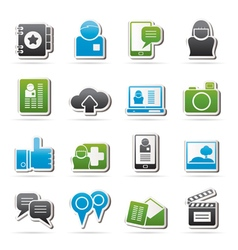 Social media network and internet icons vector image vector image