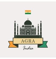 Taj mahal and indian flag vector