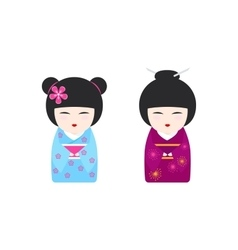 With japanese kokeshi dolls vector
