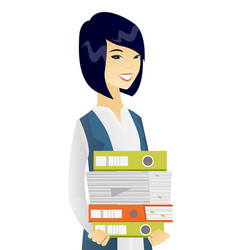 Young asian business woman holding pile of folders vector