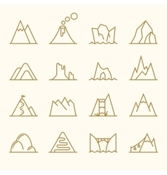 Mountain line elements set vector image