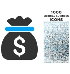 Money bag icon with 1000 medical business icons vector