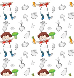a boy and vegetables vector image