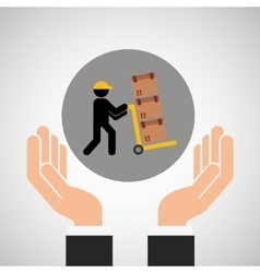Hand delivery service man carrying cardboard box vector