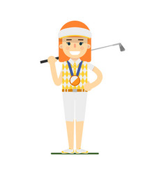 young woman golfer with golf club vector image