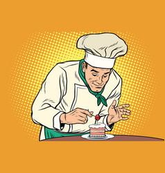 The chef prepares a sweet dessert vector
