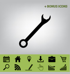 crossed wrenches sign  black icon at gray vector image