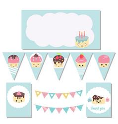 Set of birthday party elements set of birthday vector