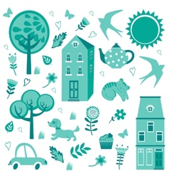 Home sweet home monochrome set vector