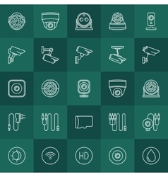 Security cameras icons set vector