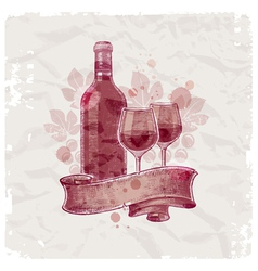 Hand drawn wine bottle and glasses vector