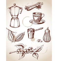 Set of vintage coffee and cocoa icons vector