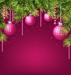 Pink wallpaper with fir twigs and glassy balls vector