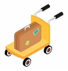 Trolley with brown suitcases vector