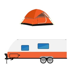 Trailer and camping tent vector