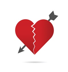 Heart break with arrow vector