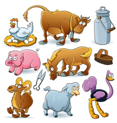 Farm animal collection vector