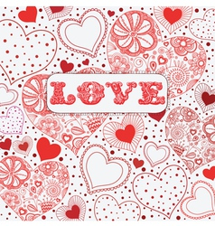 Vintage love hearts pattern vector