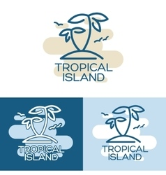 Two palm on the tropical island vector
