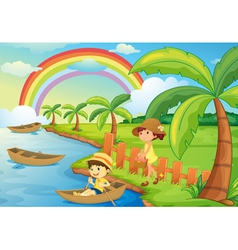 a boy and girl are boating vector image