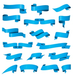biggest collection of blue ribbons vector image vector image